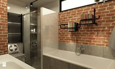 Łazienka w stylu industrialnym metamorfoza - Średnia łazienka w domu jednorodzinnym z oknem, styl industrialny - zdjęcie od Grafika i Projekt architektura wnętrz
