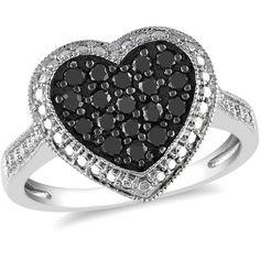 1/2 Carat T.W. Black Diamond Heart Ring in Sterling Silver: Rings : Walmart.com