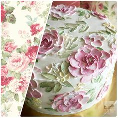 Looking for inspiration. Feminine style for Vintage lady ,I think Paint flowers on cake. Creative Cake Decorating, Cake Decorating Techniques, Creative Cakes, Pretty Cakes, Beautiful Cakes, Amazing Cakes, Bolo Floral, Floral Cake, Food Texture