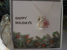 Snowflake and Pearl Necklace Personalized by TheButterflyGarden7, $34.00