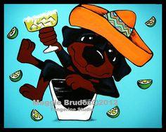 tequila bar art margarita Whimsical dog ART by tangerinestudio, $48.00