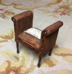 Chair Leather 1:12 Dollhouse Miniature
