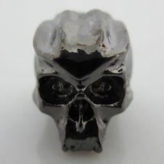 Cyber Skull Bead in Hematite Finish by Schmuckatelli Co.