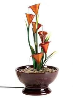 Indoor Outdoor Sculpted Calla Lily Electric Water Fountain NIB #Unbranded