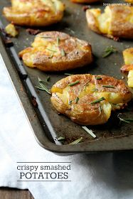 GF Crispy Smashed Potatoes taste just like a fried hash brown, but way healthier and way more delicious! A great side dish idea! LoveGrowsWild.com #recipe #potato #sides