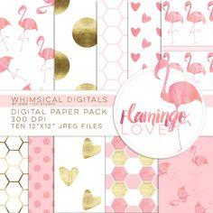 Flamingo Love watercolor digital paper pack by WhimsicalDigitals Scrapbook Blog, Digital Scrapbook Paper, Scrapbook Paper Crafts, Scrapbook Pages, Digital Paper Freebie, Flamingo Craft, Digital Pattern, Pattern Paper, Planner Stickers