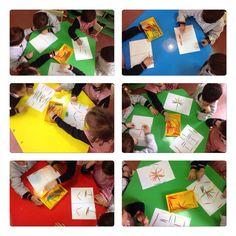 Dibujos simétricos con palillos de colores. E.Infantil 5 años. Colegio Ntra. Sra. Santa María. Madrid