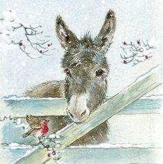 Bird and donkey illustration Christmas Donkey, Christmas Animals, Christmas Art, Xmas, Illustration Noel, Christmas Illustration, Illustrations, Vintage Christmas Cards, Christmas Pictures