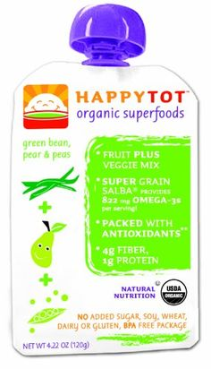 HAPPYBABY Happy Tot - Stage 4: Green Beans, Pears and Peas, 4.22  Ounce Pouch (Pack of 16) $19.28