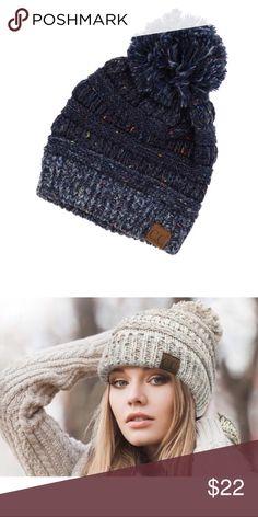2b4c9e1dc39 ❗️LAST 1❗ Cable Knit Navy Confetti Pom Pom Beanie