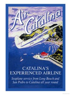 Buyenlarge Air Catalina Vintage Advertisement on Wrapped Canvas Size: 2 Vintage California, Catalina California, California Travel, Santa Catalina Island, Airline Travel, Air Travel, Vintage Travel Posters, Vintage Airline, Poster Vintage