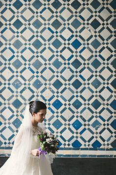 bride and Portuguese tile work