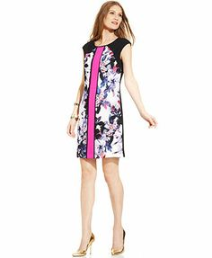 Ivanka Trump Cap-Sleeve Floral-Print Colorblock Shift