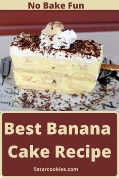 Best Banana Cake Recipe – No Bake Fun. Ordinary? Typical? Average? NO – NOT THIS CAKE. This is the best cake made with fresh bananas. Super easy to make and no bake recipe. Enjoy and share. #cake No Bake Desserts, Healthy Desserts, Delicious Desserts, Baking Recipes, Cake Recipes, Dessert Recipes, Muffin Recipes, Tea Cookies, Vanilla Cookies