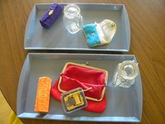 """This a great center activity. It is language rich. The kids can snap, zip, seal, squeeze, turn, open, close etc. I also have a flash card with an open box and closed box pictured and the words written underneath for early literacy (not pictured). The change purse can be a bit difficult so I put the music box inside as a """"reward"""" for opening it. My kids have always liked this center. It also helps with fine motor."""