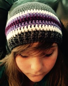 Basic crocheted beanie with a ribbed edging. Size 10-up. Fits an average size 22inch head