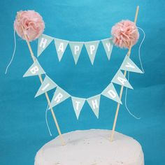 "Birthday Cake banner, Blush Pink, Mint ""Happy birthday"" cake bunting topper D254, fabric birthday cake banner by Hartranftdesign on Etsy https://www.etsy.com/listing/180584139/birthday-cake-banner-blush-pink-mint"
