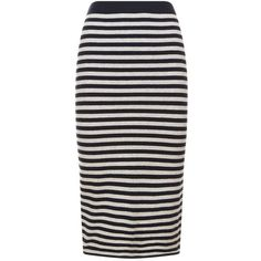 Max Mara Knitted Pencil Skirt (1.390 BRL) ❤ liked on Polyvore featuring skirts, print pencil skirt, stripe skirt, navy knee length skirt, patterned pencil skirt and navy blue striped skirt