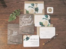 Woodland Floral Wedding Invitation & Correspondence Set / Rustic Wood with Romantic Accents / Sample Set -- So pretty. Just feels whimsical