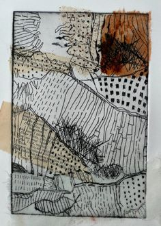 Shelley Rhodes etching 2 distressing the print -rubbing, sanding, peeling and re-working. Sketchbook Inspiration, Art Sketchbook, Drypoint Etching, Etching Prints, Art Plastique, Collagraph, Art Images, Art Inspo, Textile Art