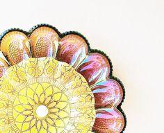 Carnival Glass Egg Plate Garden Art Yard Decor Vintage Sunflower Suncatcher Reclaimed Material MARIGOLD