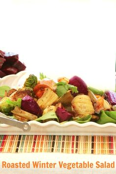 Loved this salad! Roasted Winter Vegetable Salad with Balsamic Vinaigrette Low Calorie Low Fat
