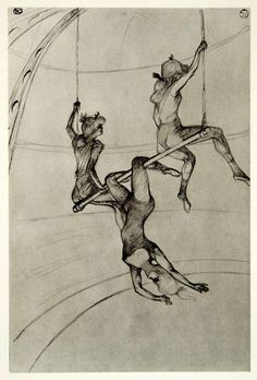 1939 Photogravure Henri Toulouse-Lautrec Flying Trapeze Artists Women Big Top