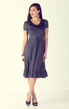 How about this with a thin yellow belt ?    (From Jen Clothing Modest Clothing)