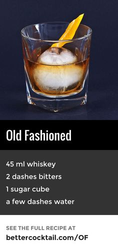 The Old Fashioned cocktail is made by muddling sugar with bitters, then Bourbon or rye whiskey. The drink is usually finished with a twist of citrus rind and a cocktail cherry. It is traditionally served in an Old Fashioned glass, which is named after this very drink.