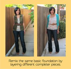 the base of the outfit is exactly the same  but the  finishing pieces - a cardigan, and a cargo vest - make the outfits feel so distinct that you don't even notice .