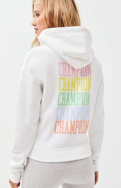 Champion keeps you nice and cozy in the Pastel Reverse Weave Hoodie. This classic pullover features a drawcord hood, long sleeves, kangaroo pocket, pastel logo embroidery at the left chest, and repeating Champion graphic on the back. Purple Champion Hoodie, Champion Hoodie Women, Champion Hooded Sweatshirt, Champion Jacket, Hoodie Sweatshirts, Pullover Hoodie, Hoodies, Classy Winter Outfits, Cute Comfy Outfits
