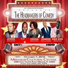 This is by far the Biggest & Best Comedy Show South Florida has seen this year! Start your weekend off right with an incredible line-up of FIVE hysterical comedic headliners who are known to sell out venues across the country.  Comedian Cocoa Brown who regularly appears on Tyler Perry's For Better or Fo