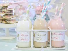 Winter Wonderland Dessert Table - love these petite milk jars... Always a great addition