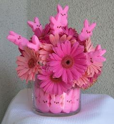 Easter centerpiece with peeps and flowers. I would use yellow but it's pretty in pink too.
