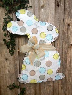 Blue and Green Easter Bunny with Bow Door Hanger by doornament, $50.00