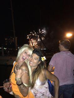 one time Hawai'ian longboard champion Jill Hansen and her best friend Surf Lady Veronica Grey enjoy the usual aloha Friday fireworks in Waikiki