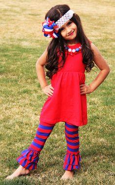 Girls Memorial Day Stripe Ruffle Boutique by AbigailJadeBoutique