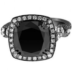Cushion Cut Black Gold Black Diamond Engagement Ring - Unusual Engagement Rings Review