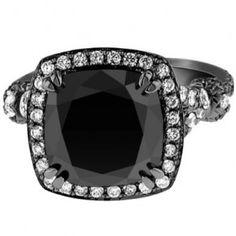 Cushion Cut Black Gold Black Diamond Engagement Ring - Unusual Engagement Rings Review