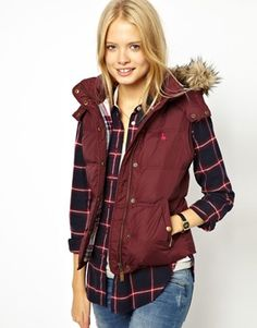 Image 1 of Jack Wills Gilet With Faux Fur Trimmed Hood Fur Gilet, Puffy Vest, Cold Weather Fashion, Autumn Winter Fashion, Fall Fashion, Winter Outfits, Winter Clothes, Windbreaker Jacket, Comfortable Fashion