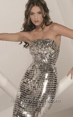 silver strapless dress - Jovani