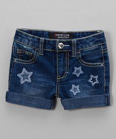 Freestyle Revolution Medium Wash Star Patches Denim Shorts - Toddler & Girls | zulily