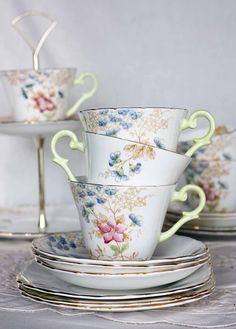 Beautiful early English bone china tea cup, saucer and plate: Wellington china tea set with lovely pale green handle and handpainted flowers.