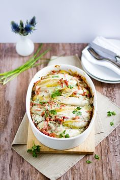 Chicoree-Kartoffel-Schinken-Auflauf