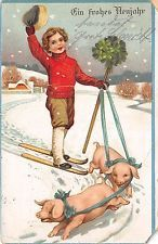 BG8538 ski child pig clover corner cut neujahr new year greetings germany