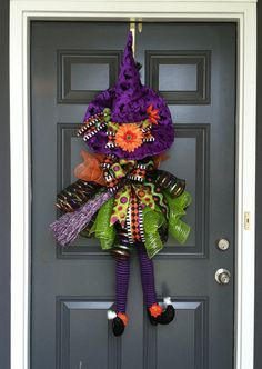 Hey, I found this really awesome Etsy listing at https://www.etsy.com/listing/200043896/halloween-deco-mesh-witch-door-wreath
