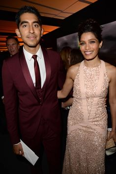 Art Stars: Dev Patel and Freida Pinto in Ferragamo. She is 6 years older. Party Pictures, Party Photos, Hot Couples, Celebrity Couples, Beautiful One, Beautiful People, Dev Patel, Freida Pinto, Cute Couple Art
