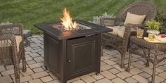 An outdoor gas fire pit are an excellent choice because they have a dual purpose and can also provide a table in the daytime hours.   #gasfirepits #firepits #fireplace #gasfireplace Fire Pit Bowl, Gas Fire Pit Table, Fire Bowls, Rectangular Fire Pit, Square Fire Pit, Wood Burning Fires, Gas Fires, Portable Propane Fire Pit, Outdoor Fire