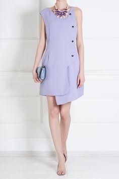 ассиметричное платье цвета фиалки
