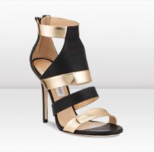eba5b2706540 Jimmy Choo- BESSO Black Vacchetta Leather and Gold Mirror Leather Sandal  Shoes Sandals